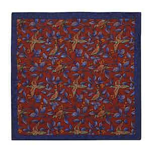 Orange and Blue Birds Silk Pocket Square