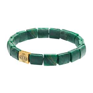 Jade and 18K Gold Flatbead Wristband