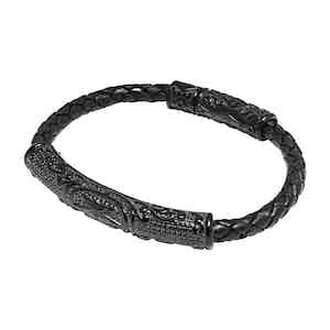 Black Leather and Titanium 4mm Braided Bracelet