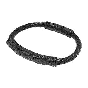 Black Leather and Titanium 4mm Braided Bracelet