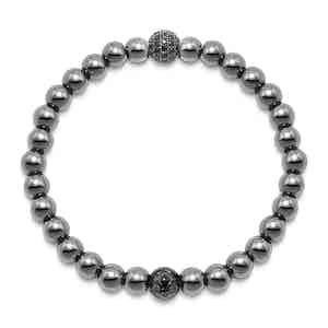 Hematite, Black CZ Diamond and Titanium Wristband