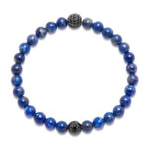 Blue Lapis, Black CZ Diamond and Titanium Wristband