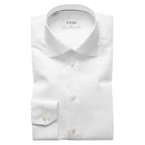 White Cotton-Twill Slim Signature Cut Away Single-Cuff Shirt