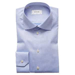 Light Blue Cotton-Twill Slim Signature Cut Away Single-Cuff Shirt