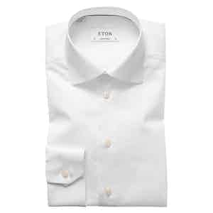 White Cotton-Twill Contemporary Signature Cut Away Single-Cuff Shirt