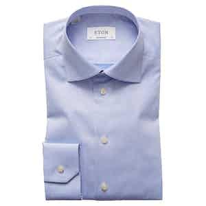 Light Blue Cotton-Twill Contemporary Signature Cut Away Single-Cuff Shirt
