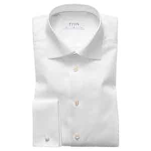 White Cotton-Twill Slim Signature Cut Away Double-Cuff Shirt