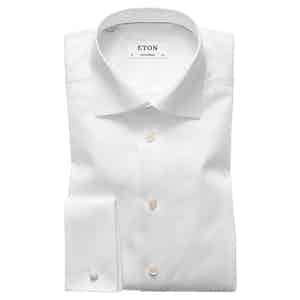 White Cotton-Twill Contemporary Signature Cut Away Double-Cuff Shirt