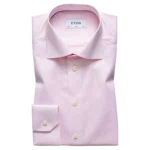 Pink Cotton-Twill Slim Signature Cut Away Single-Cuff Shirt