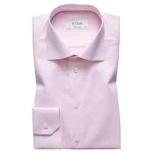 Pink Cotton-Twill Contemporary Signature Cut Away Single-Cuff Shirt