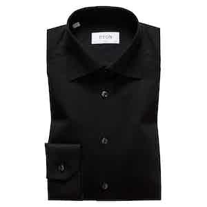 Black Cotton-Twill Slim Signature Cut Away Single-Cuff Shirt