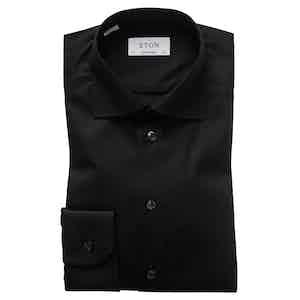 Black Cotton-Twill Contemporary Signature Cut Away Single-Cuff Shirt