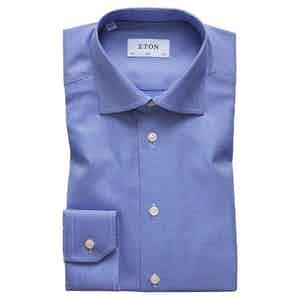 Textured Blue Cotton-Twill Slim Signature Cut Away Single-Cuff Shirt