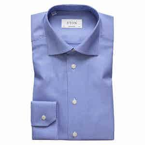 Textured Blue Cotton-Twill Contemporary Signature Cut Away Single-Cuff Shirt