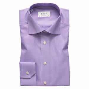 Textured Lilac Cotton-Twill Contemporary Signature Cut Away Single-Cuff Shirt