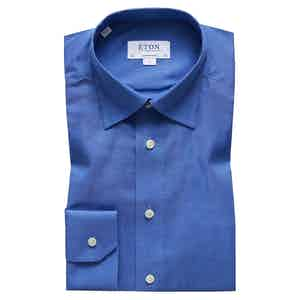 Brushed Blue Cotton-Twill Contemporary Signature Button-Under Single-Cuff Shirt