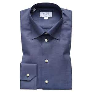 Brushed Navy Cotton-Twill Slim Signature Button-Under Single-Cuff Shirt