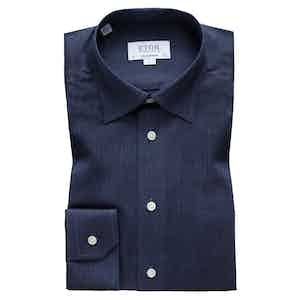 Brushed Navy Cotton-Twill Contemporary Signature Button-Under Single-Cuff Shirt
