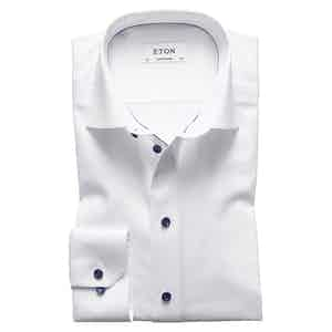 White Cotton-Twill Contemporary Cut Away Single-Cuff Piped Shirt
