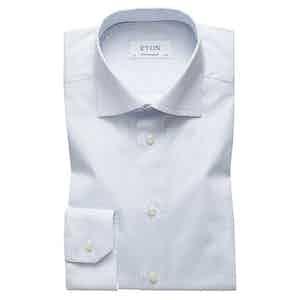 Blue Cotton-Poplin Contemporary Cut Away Single-Cuff Micro Print Shirt