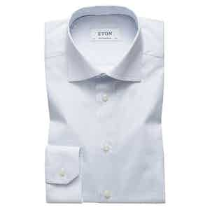 Blue Cotton-Poplin Contemporary Cut Away Single-Cuff Micro Print Shirt
