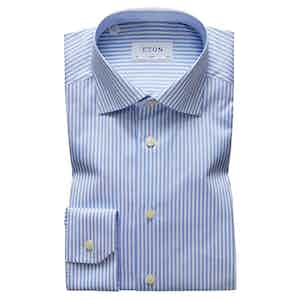 Blue Cotton Slim Cut Away Single-Cuff Bengal Stripe Shirt