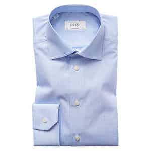 Blue Cotton-Poplin Contemporary Cut Away Single-Cuff Check Shirt