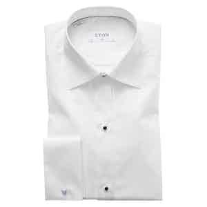 White Cotton Slim Cut Away Double-Cuff Pique-Front Shirt