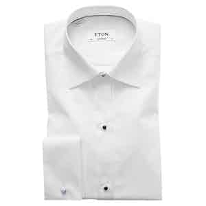 White Cotton Contemporary Cut Away Double-Cuff Pique-Front Shirt