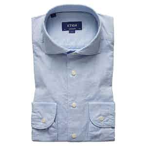 Blue Cotton and Silk Contemporary Spread Collar Single-Cuff Shirt