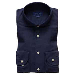 Navy Soft Cotton and Silk Slim Shirt