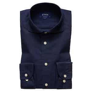 Navy Cotton and Silk Contemporary Spread Collar Single-Cuff Shirt