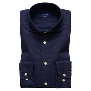 Navy Cotton and Silk Contemporary Spread Collar Single-Cuff Shirt