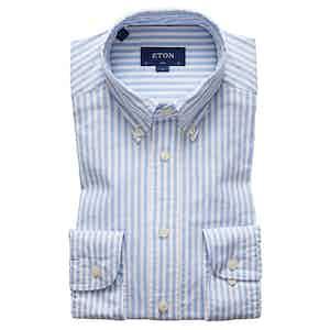 Blue Cotton Slim Oxford Single-Cuff Stripe Shirt