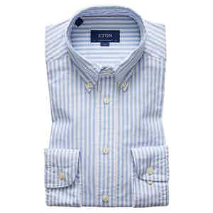 Blue Cotton Contemporary Oxford Single-Cuff Oxford Stripe Shirt
