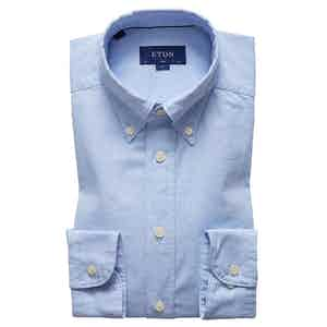 Blue Cotton Slim Oxford Single-Cuff Shirt