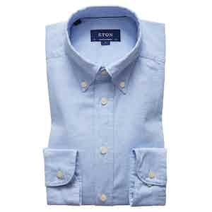 Blue Cotton Contemporary Oxford Single-Cuff Shirt
