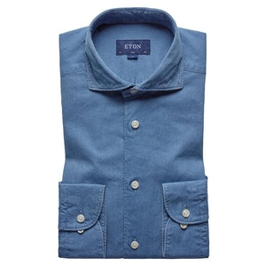 Indigo Cotton Slim Spread Collar Single-Cuff Shirt