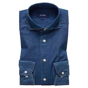Dark Indigo Cotton Slim Spread Collar Single-Cuff Shirt