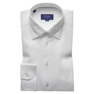 White Knitted Cotton Piqué Button-Under Single-Cuff Shirt