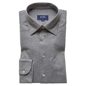 Grey Knitted Cotton Piqué Button-Under Single-Cuff Shirt