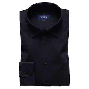 Navy Knitted Cotton Piqué Button-Under Single-Cuff Shirt