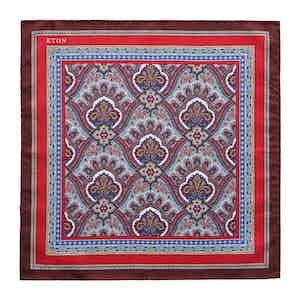 Red Silk Intricate Paisley Print Pocket Square