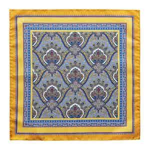 Yellow Silk Intricate Paisley Print Pocket Square