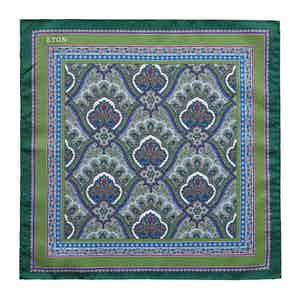 Green Silk Intricate Paisley Print Pocket Square