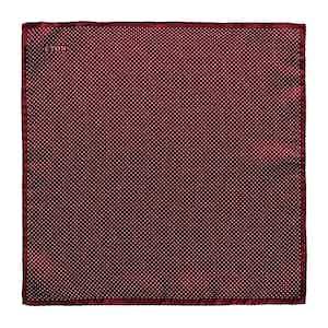 Dark Red Silk Fine Polka Dot Pocket Square