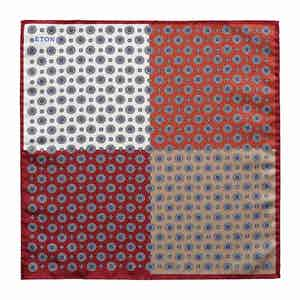 Red Tones Silk Four Side Printed Pocket Square