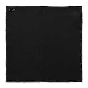 Black Silk Evening Pocket Square with White Border