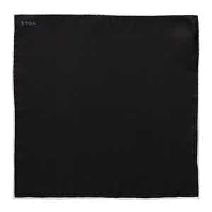 Black Silk Evening Pocket Square with White Border