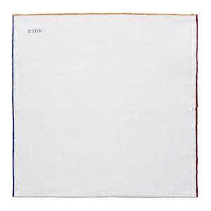White Linen Multi-Colour Border Pocket Square